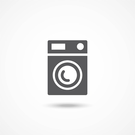 major household appliance: Gray Washing machine icon on white background