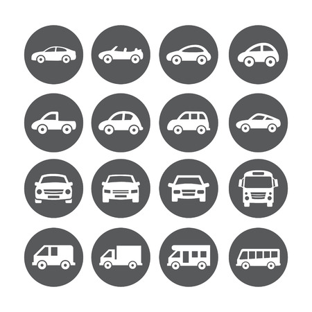 Gray Car Icon set on white background