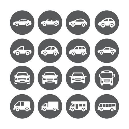 Gray Car Icon set on white background