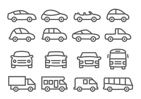 silhouette voiture: Icônes de la ligne de voitures