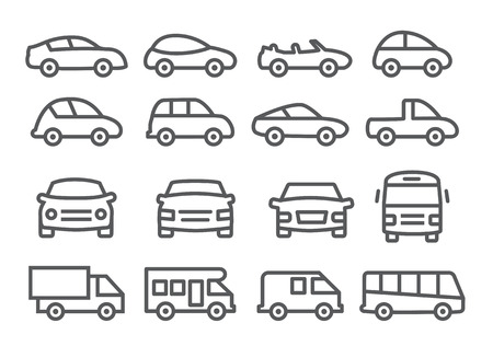 ambulancia: Iconos de l�nea de coches Vectores