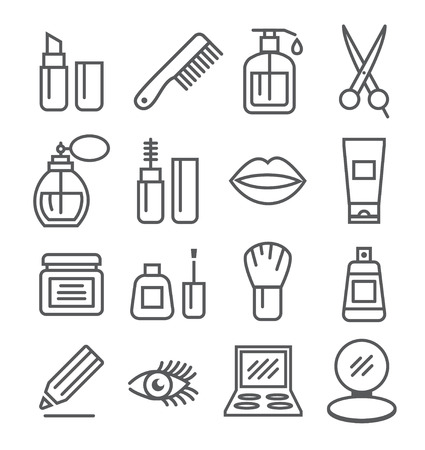 cosmetic beauty: Cosmetics line icons