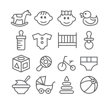baby carriage: Gray Baby line icons on white background Illustration