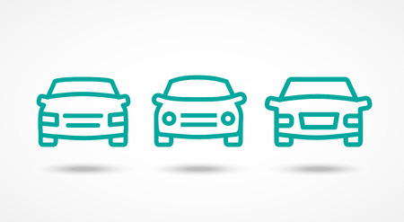 Car icons set on white with shadow Illustration