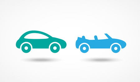 Car icons set on white with shadow Иллюстрация