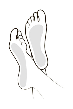 dirty feet: Foot Black vector illustration on white background