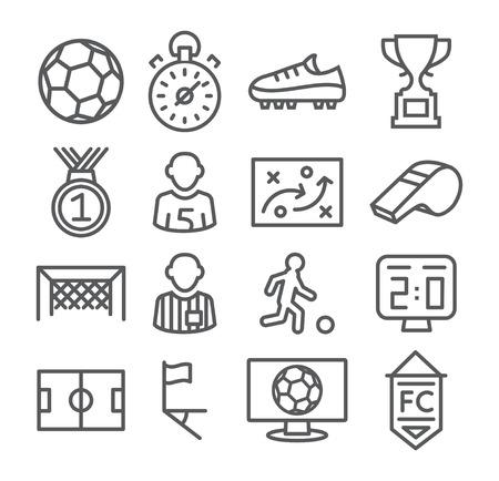 icono deportes: Ilustración Fútbol Línea Iconos gris en blanco