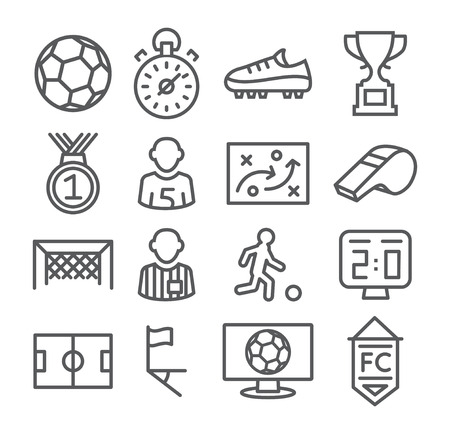 football kick: Soccer Line Icons Gray illustration on white