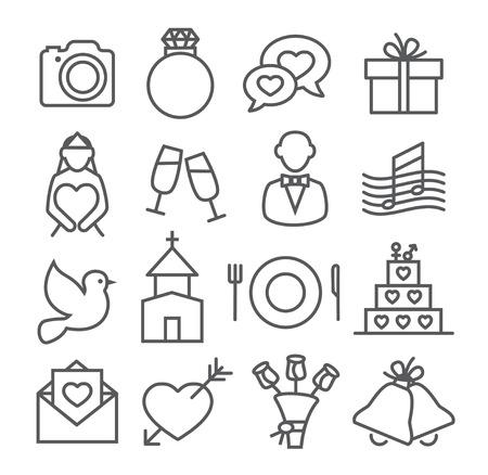 Wedding Line Icons Gray illustration on white