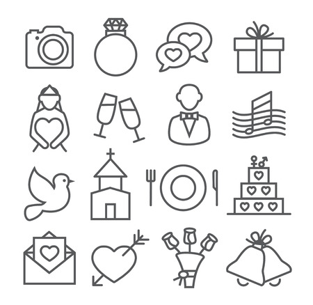 liabilities: Wedding Line Icons Gray illustration on white