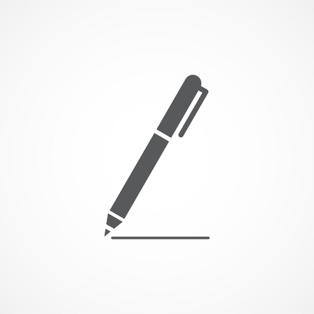 ink drawing: Pen Icon Gray illustration on white background