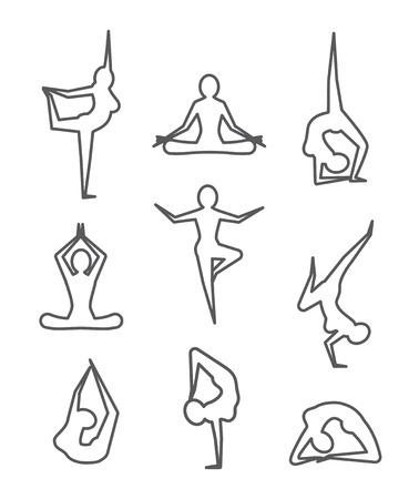 joga: Yoga poses Gray line illustration on white