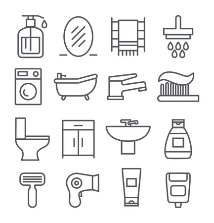 cleaning bathroom: Gray Bathroom line icons on white background Illustration