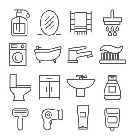 de higiene: Gray iconos de línea de baño en el fondo blanco