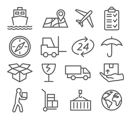 global logistics: Gray Logistic and Delivery line icons on white