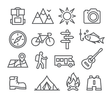 Gray Camping line icons on white background