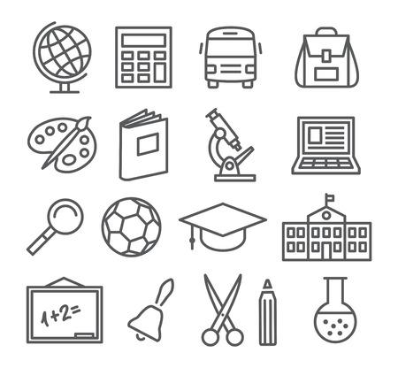 škola: Gray školy a vzdělávání Ikony linky na bílém pozadí