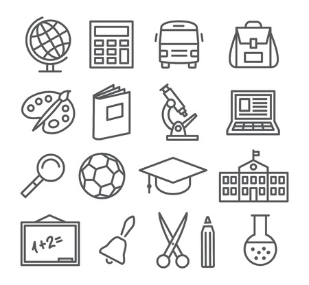 SCHOOL: Grigio Scuola e Istruzione Linea icone su sfondo bianco Vettoriali