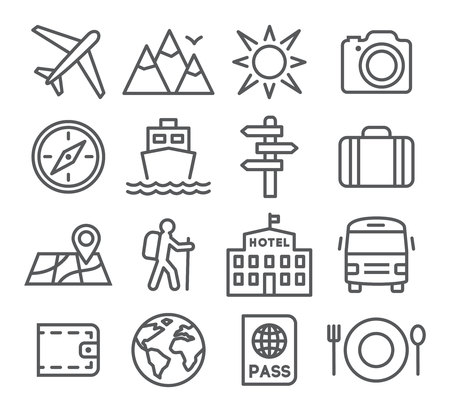 トレンディな直線的なスタイルの旅行と観光のアイコンを設定