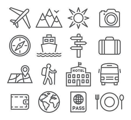 viaggi: Viaggi e turismo icon set in stile trendy lineare Vettoriali