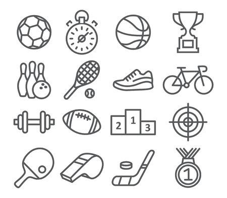 deportes colectivos: Iconos del deporte en el estilo lineal de moda en blanco Vectores