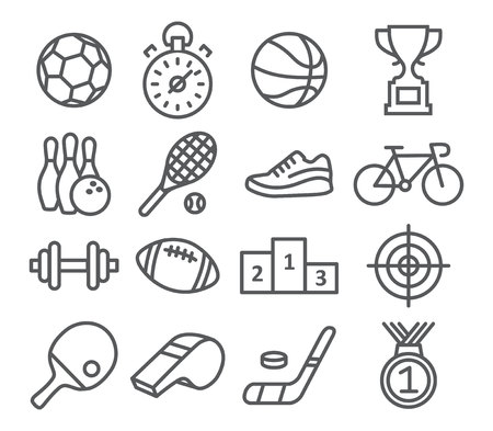 Sport icons in trendy linear style on white