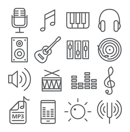 Music icons in trendy linear style on white