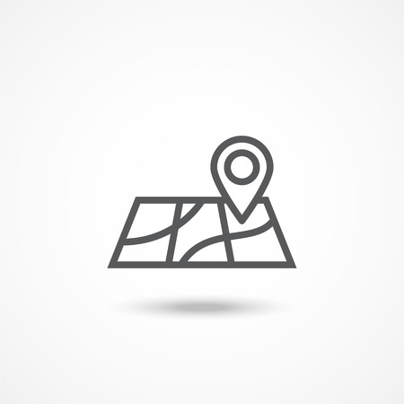 Gray Map icon with shadow on white