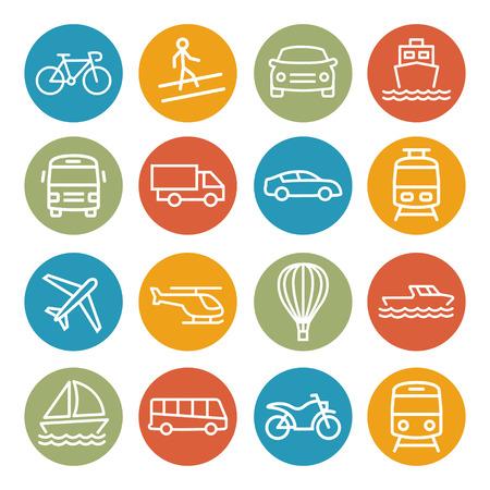 Colorful Transport line icons on white background Illustration