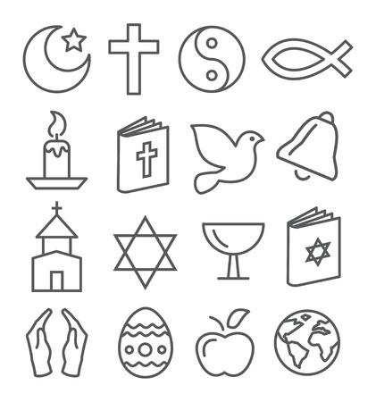sacerdote: Gray Line Religión iconos en el fondo blanco