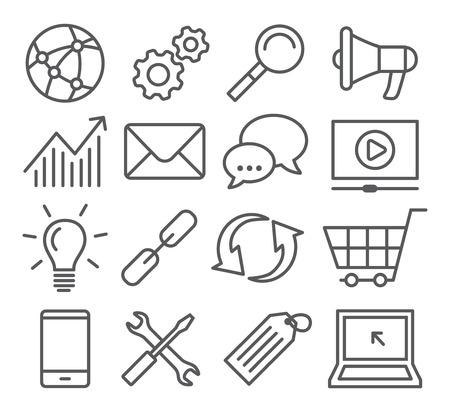 bombillo: Gray Line SEO iconos en el fondo blanco Vectores