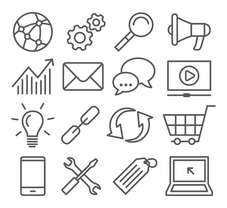 telephone icons: Gray SEO Line Icons on white background Illustration