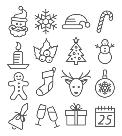 Gray Christmas Line Icons on white background