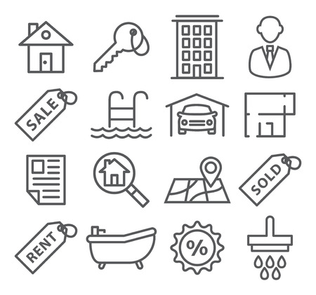 properties: Gray Real Estate Line Icons on white
