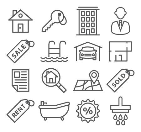 Gris Immobilier Ligne icônes sur blanc