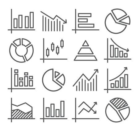 dibujos lineales: Diagrama de color gris y gráficos de líneas iconos en blanco Vectores
