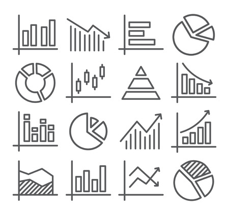 Gray Diagram and Graphs Line Icons on white Stock Illustratie