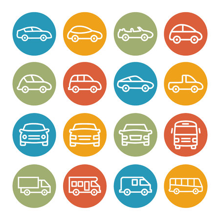 commercial van: Colorful Car Line Icons on white background