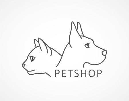Pet Shop Vector image of an dog and cat on white background