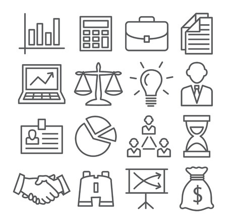 financial goals: Gray Business Line Icons on white background