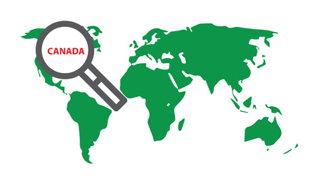 Canada. Illustration with World map and loupe. Illustration