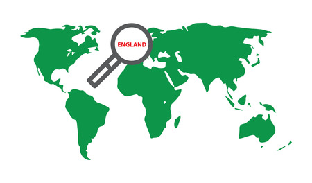 modernity: England. Illustration with World map and loupe.