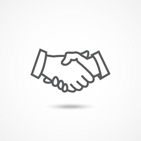 Gray Handshake icon with shadow on white background Vectores