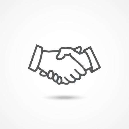 bienvenidos: icono gris del apretón de manos con sombra sobre fondo blanco Vectores
