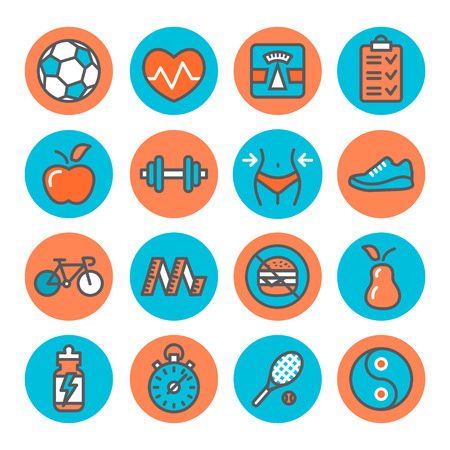waist weight: Health and Fitness Icons on white background