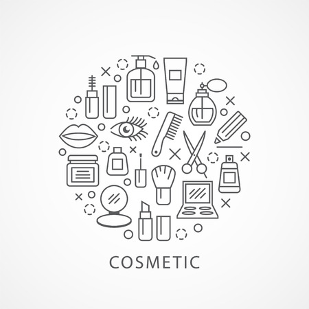 beauty icon: Cosmetics illustration with icons and signs in linear style Illustration