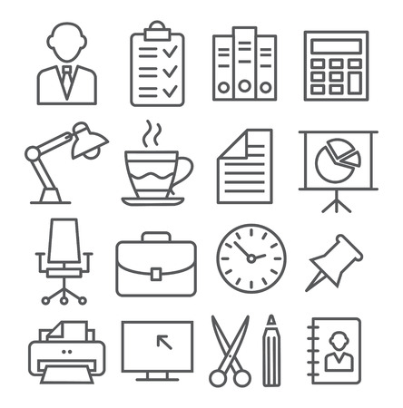 Gray Office Line Icons on white background