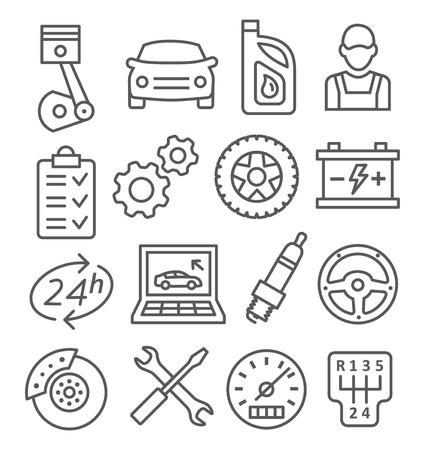 Gray Auto Service Line Icons on white