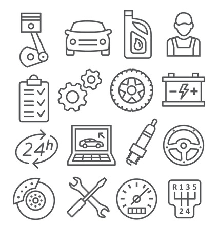 Gray Auto Service Line Icons on white
