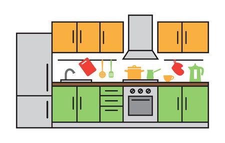 modern interieur: Flat design of kitchen interior. Modern vector illustration concept, isolated on white background.